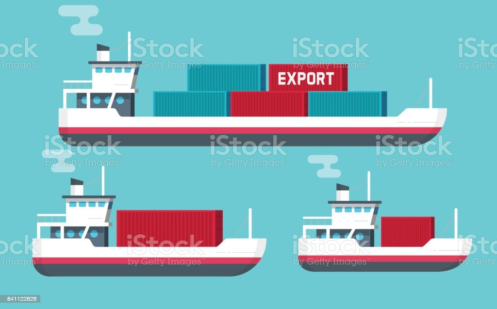 Cargo ships isolated vector illustration, flat cartoon big or small shipping freighter boats carrying cargo containers flat cartoon style, commercial freight vessel vector art illustration
