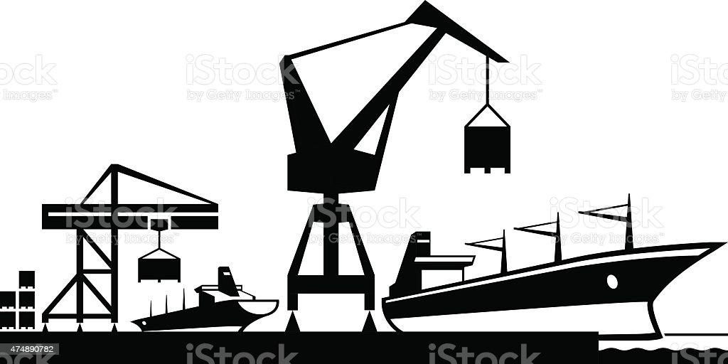 Cargo terminal port vector art illustration