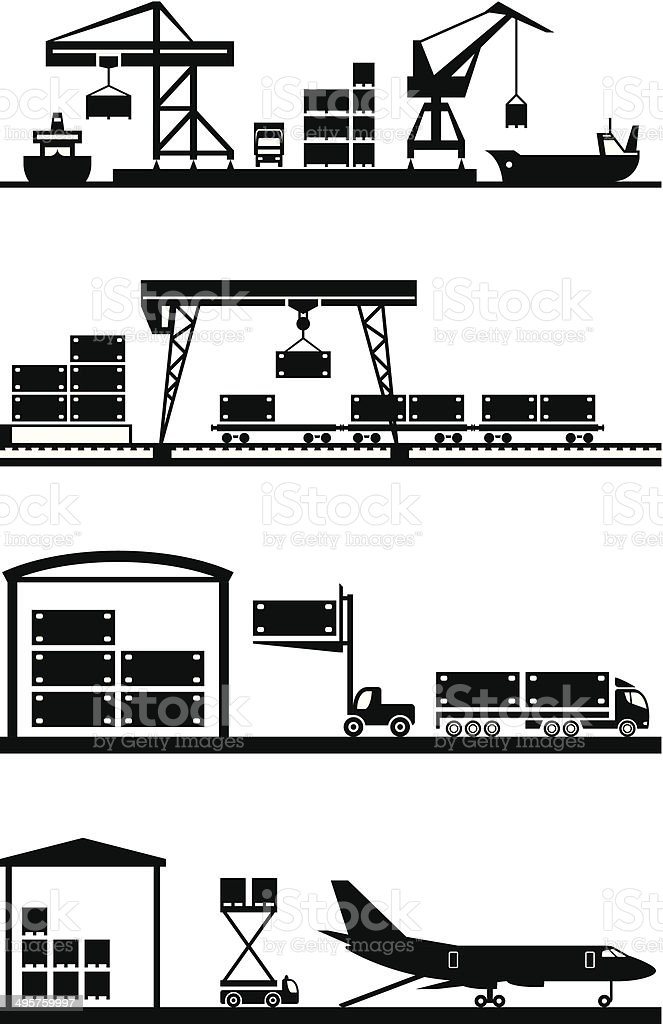 Cargo terminals icon set vector art illustration