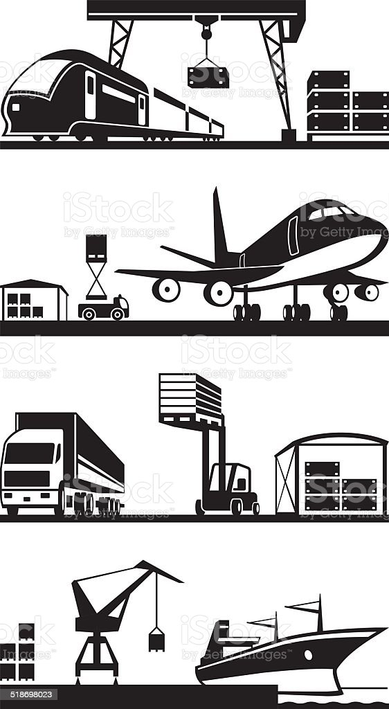Cargo terminals in perspective vector art illustration