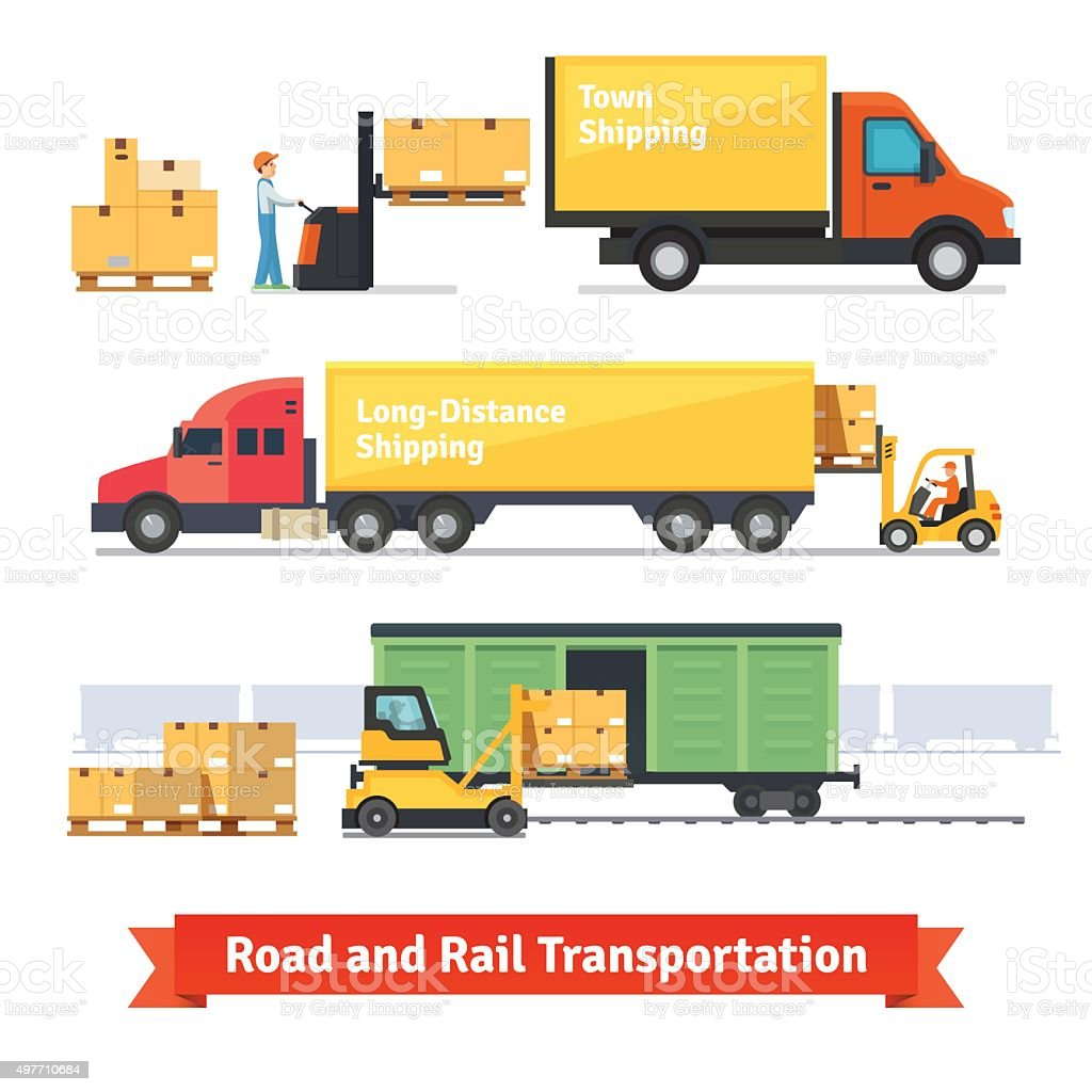 Cargo transportation by road and train vector art illustration