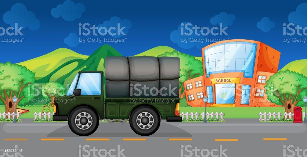 cargo truck near the school royalty-free stock vector art