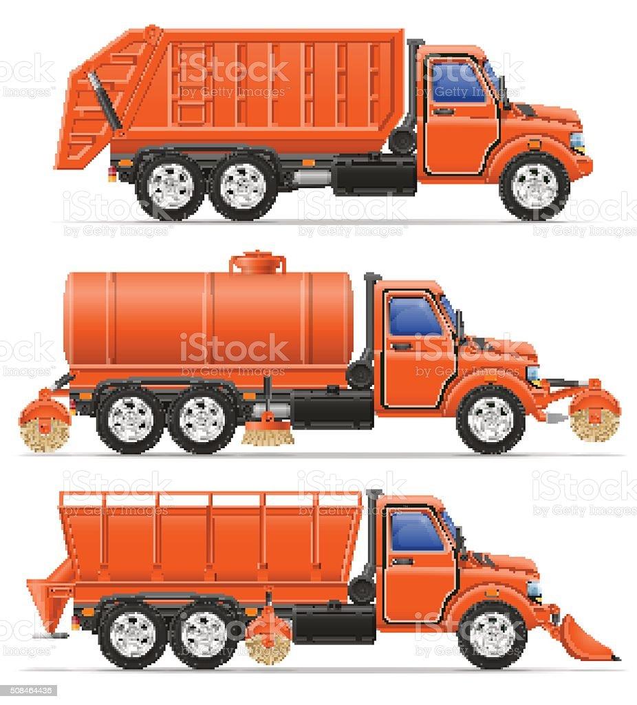 cargo trucks municipal cleaning services vector illustration vector art illustration