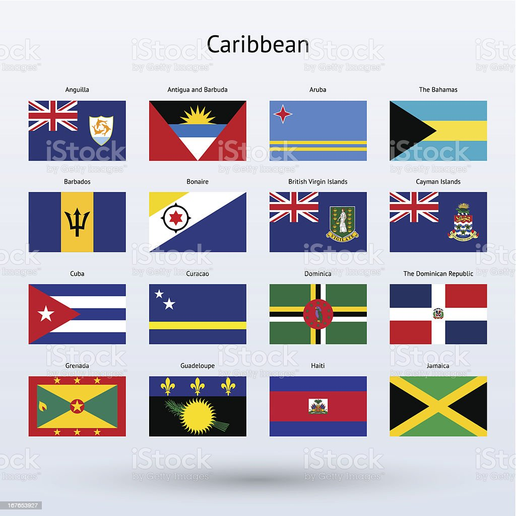 Caribbean Flags Collection (part 1 of 2) vector art illustration