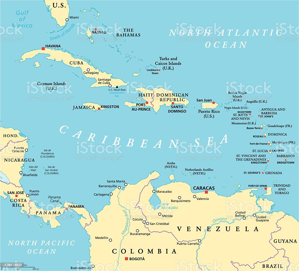 Caribbean Political Map vector art illustration