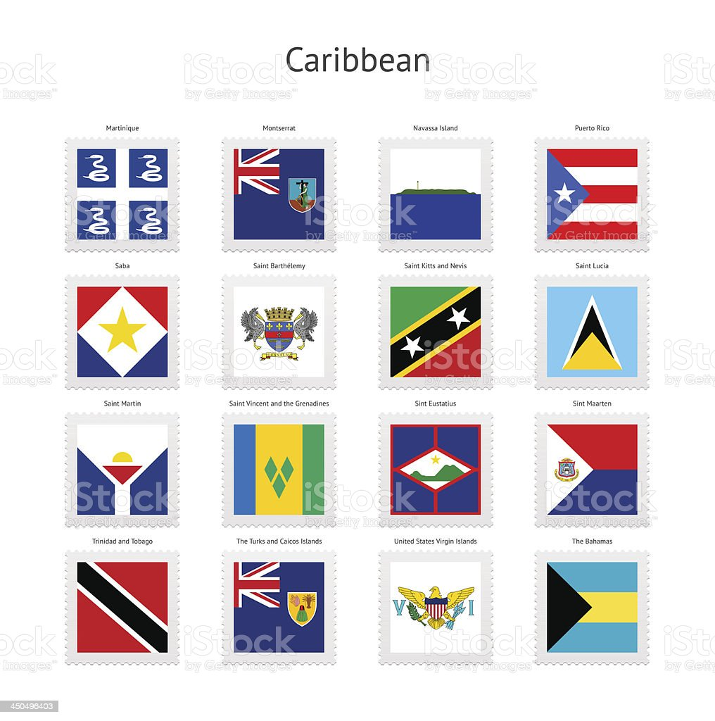 Caribbean Postage Stamp Flags Collection vector art illustration