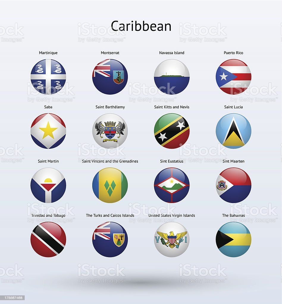 Caribbean Round Flags Collection vector art illustration
