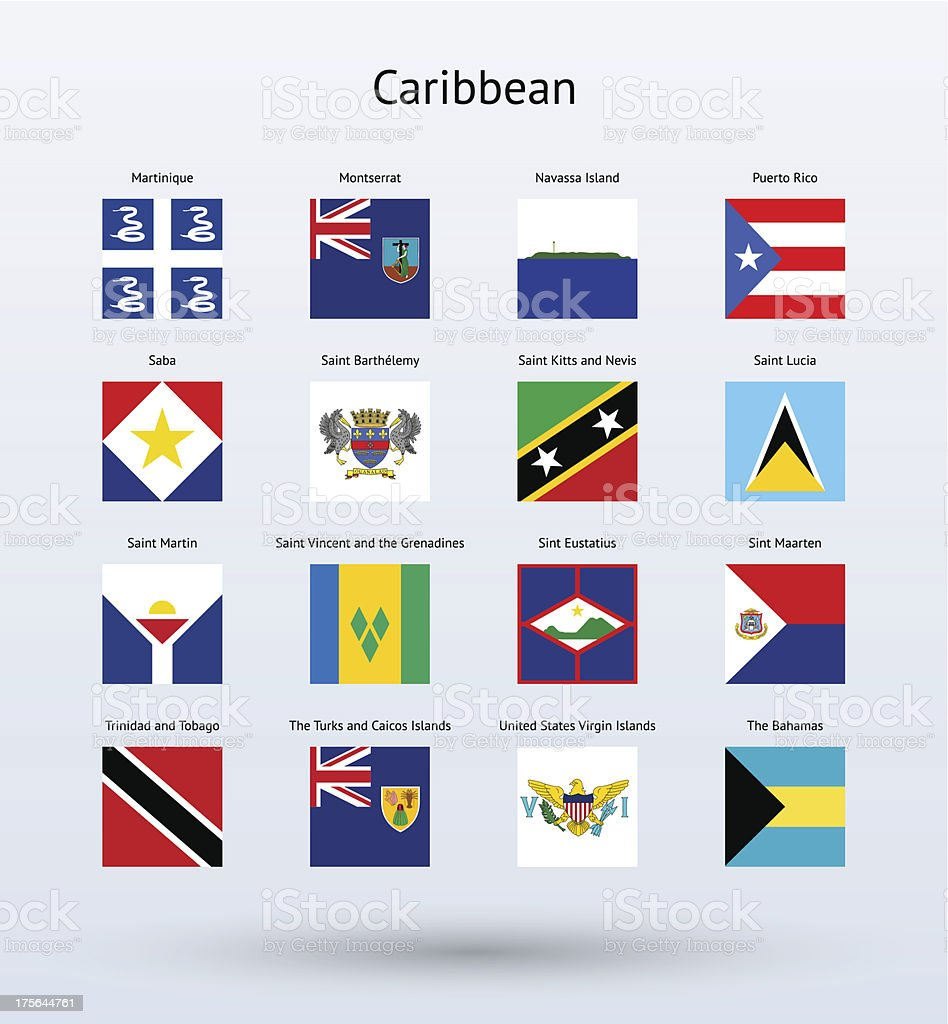 Caribbean Square Flags Collection vector art illustration