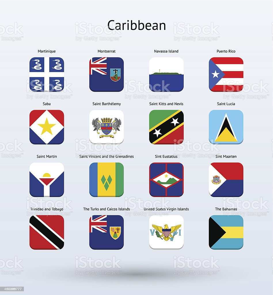 Caribbean Square Icons Flags Collection vector art illustration