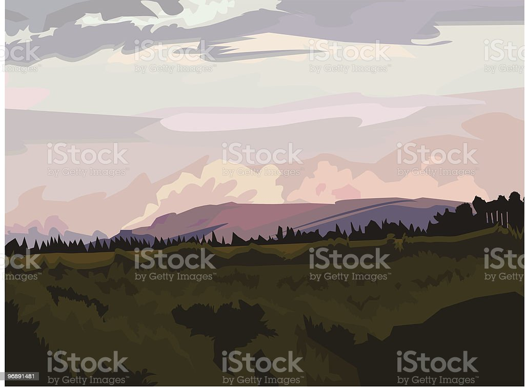 Caribou Sky vector art illustration
