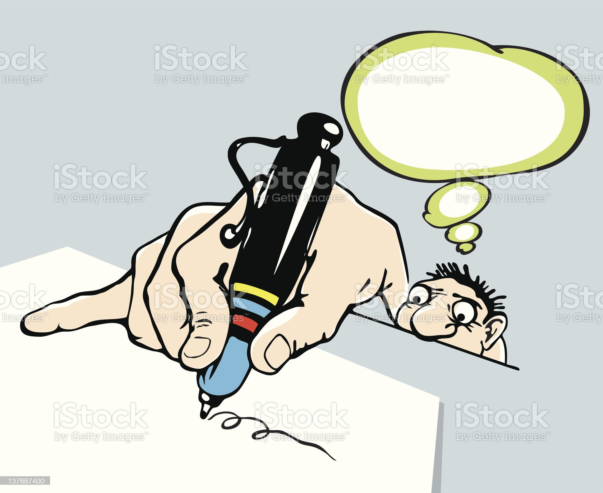 Caricature. man signs a document with caution royalty-free stock vector art