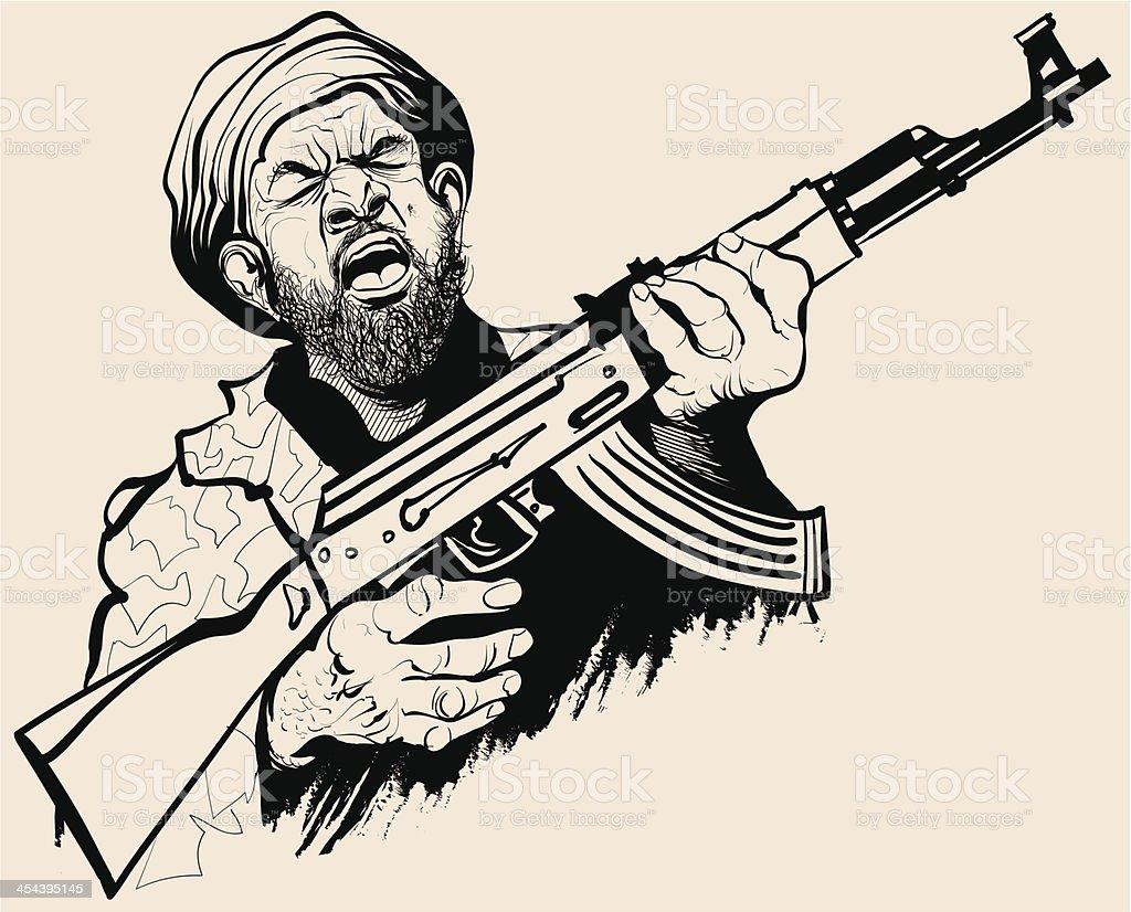 Caricature of a terrorist vector art illustration