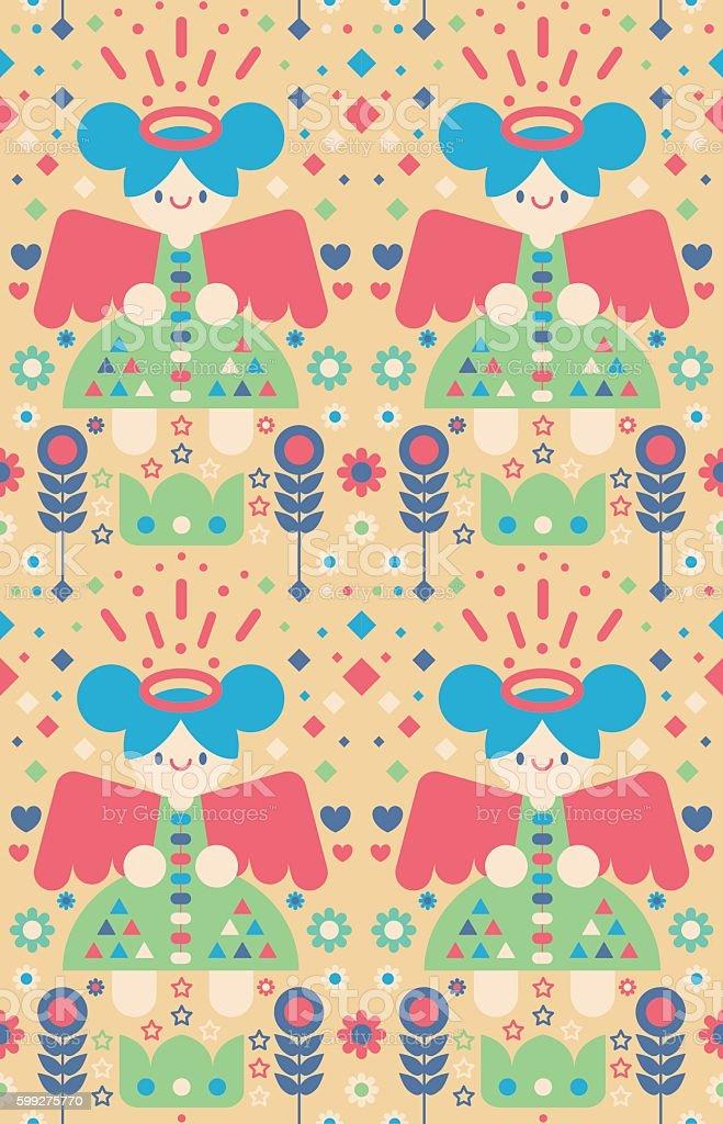 Caring Angel Pattern vector art illustration