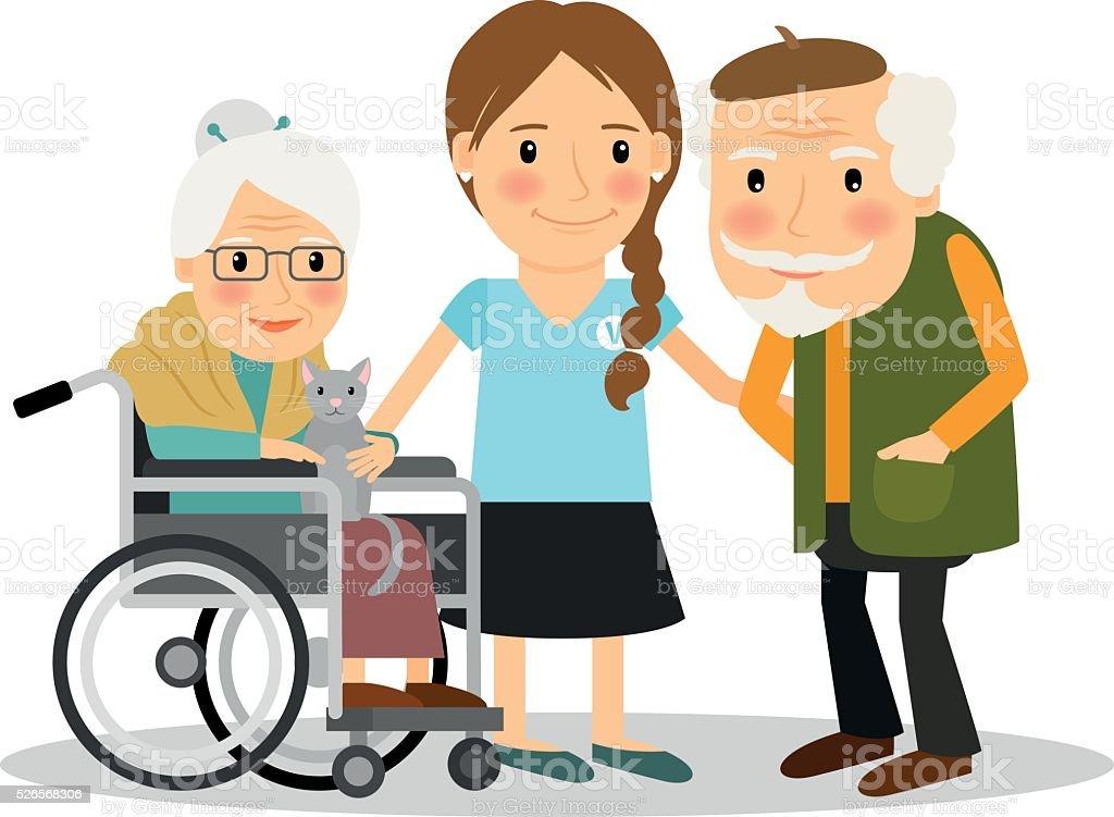 Caring for elderly patients vector art illustration