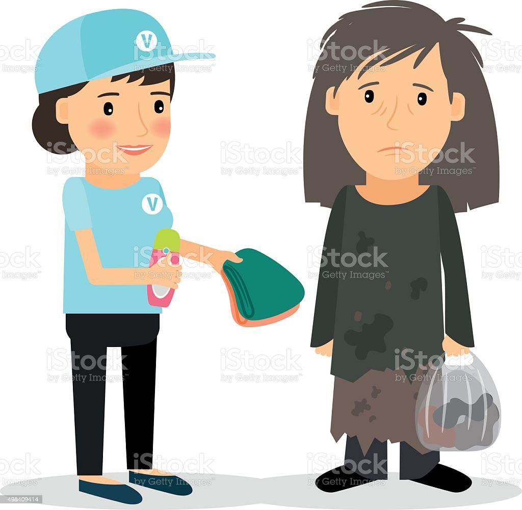 Caring for homeless and refugees vector art illustration