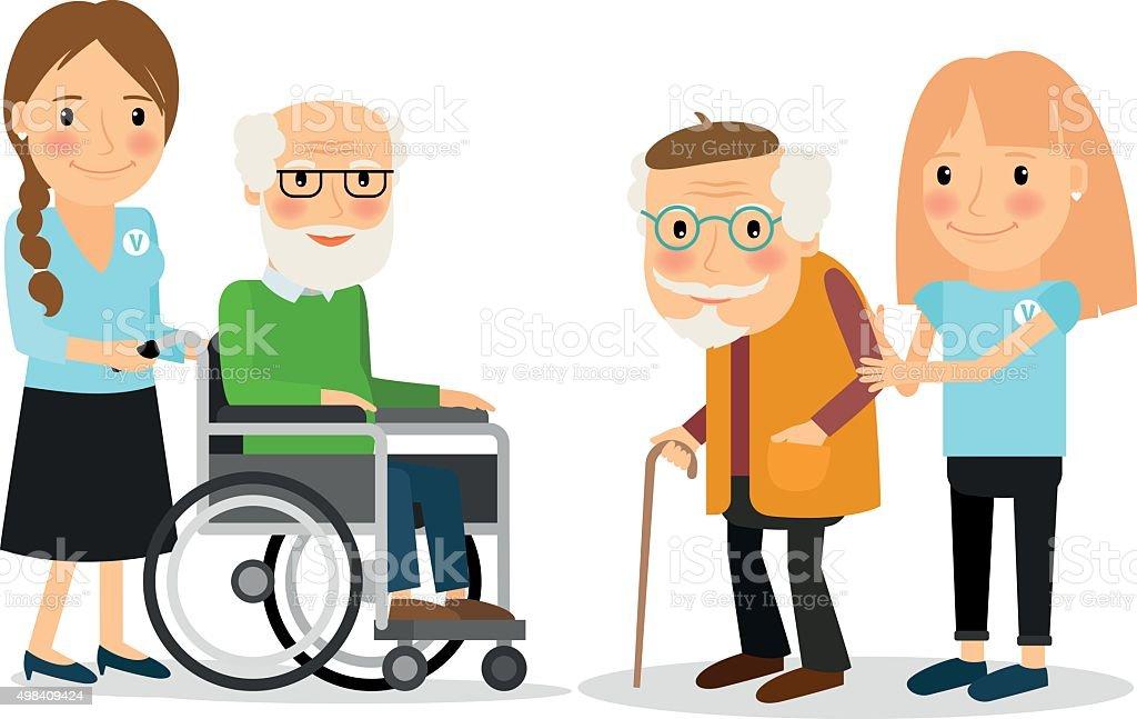 Caring for seniors vector art illustration