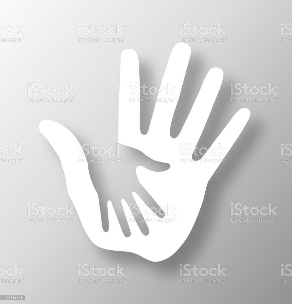 Caring hand applique vector art illustration