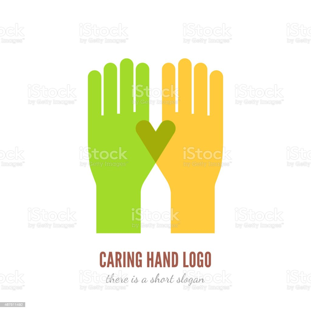 Caring hand logo vector art illustration