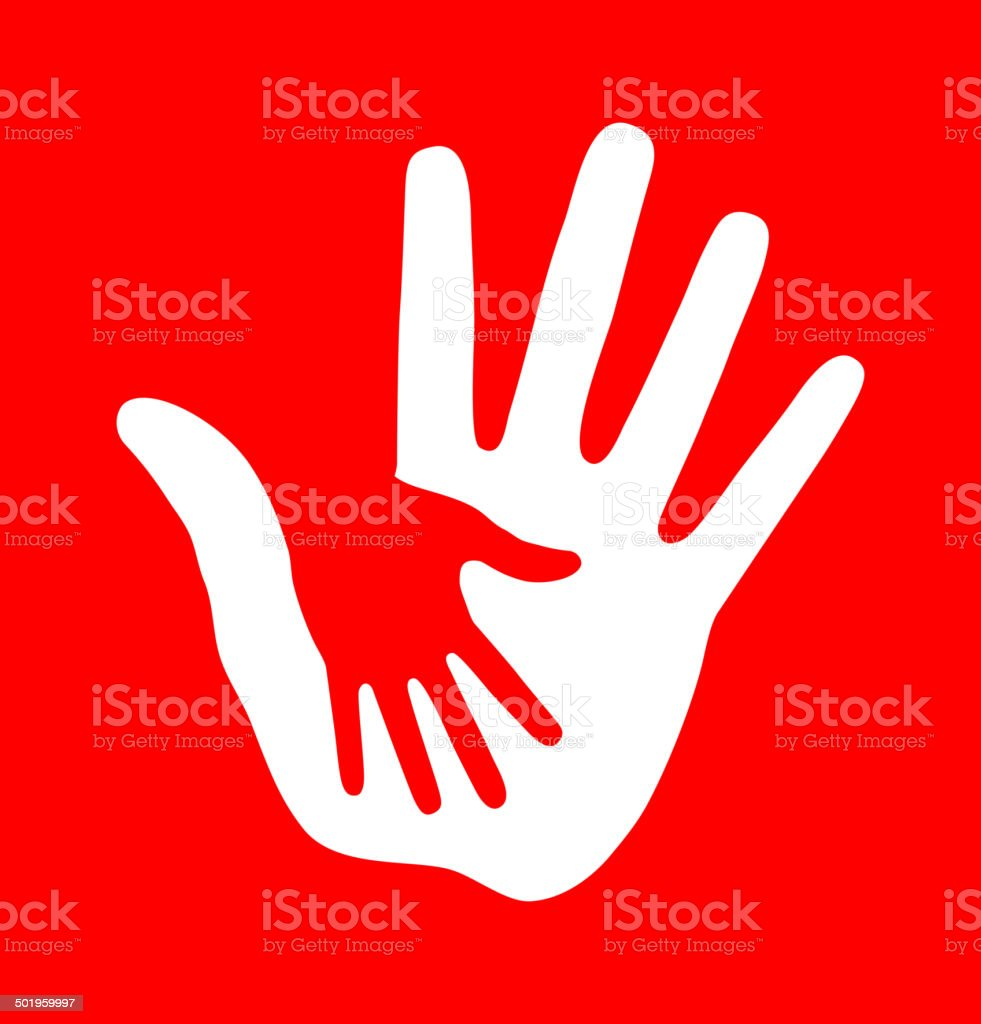 Caring hand on red background vector art illustration