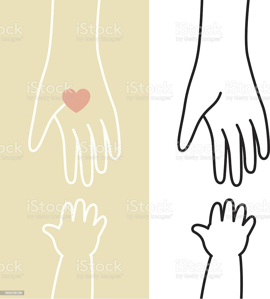 Caring Hands with Love royalty-free stock vector art