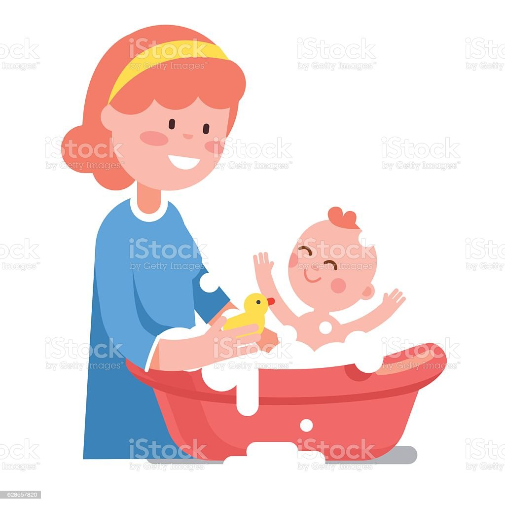 Caring smiling mother washing her baby child vector art illustration