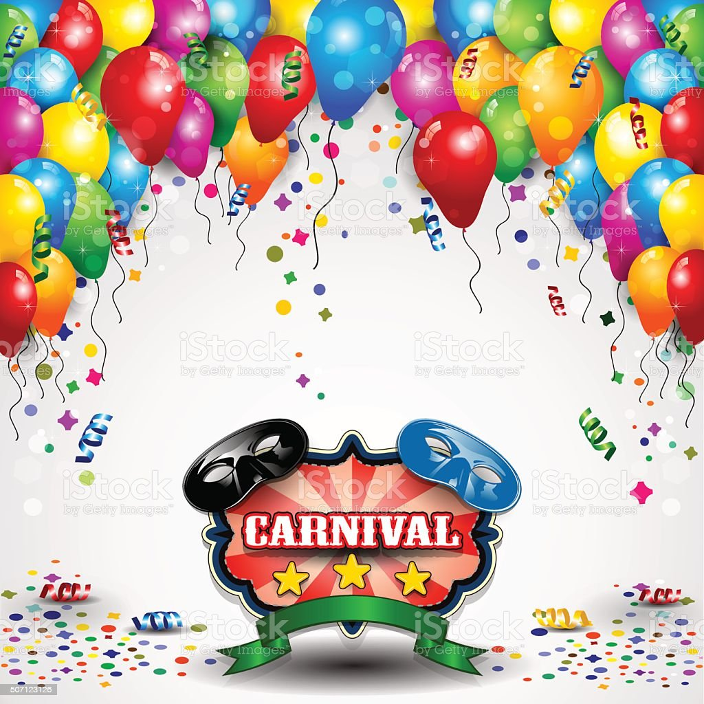 Carnival and balloons vector art illustration