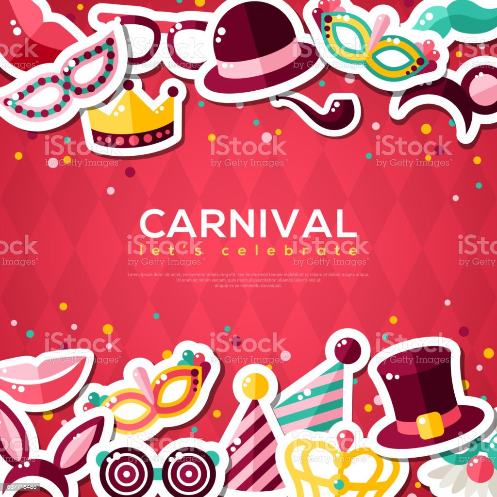 Carnival Banner With Flat Sticker Icons vector art illustration