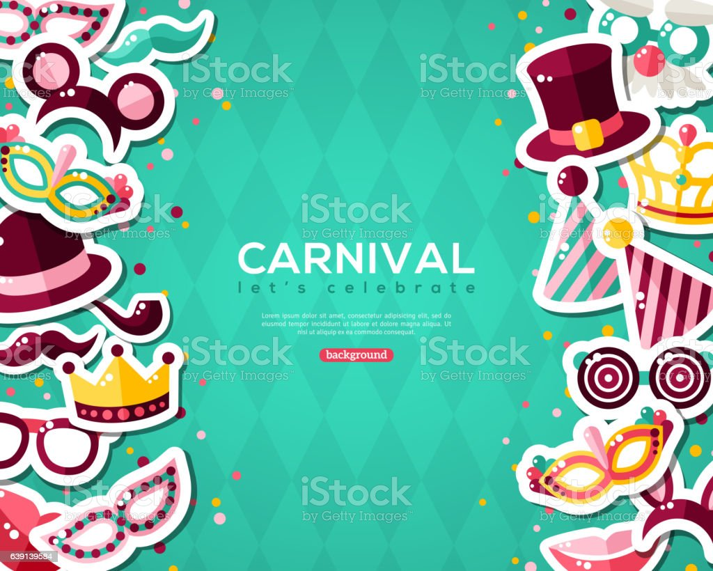Carnival Banner With Stickers on Blue Background. vector art illustration