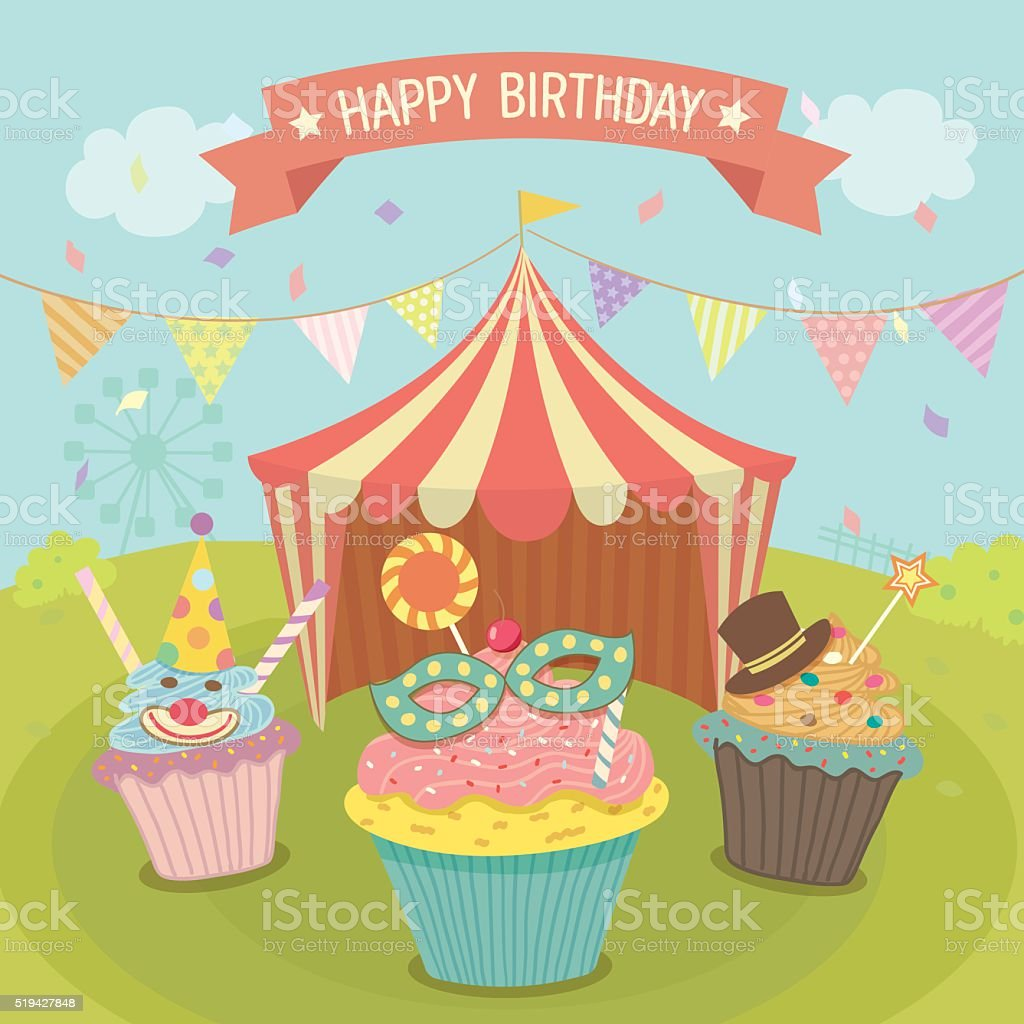 carnival cupcakes birthday vector art illustration