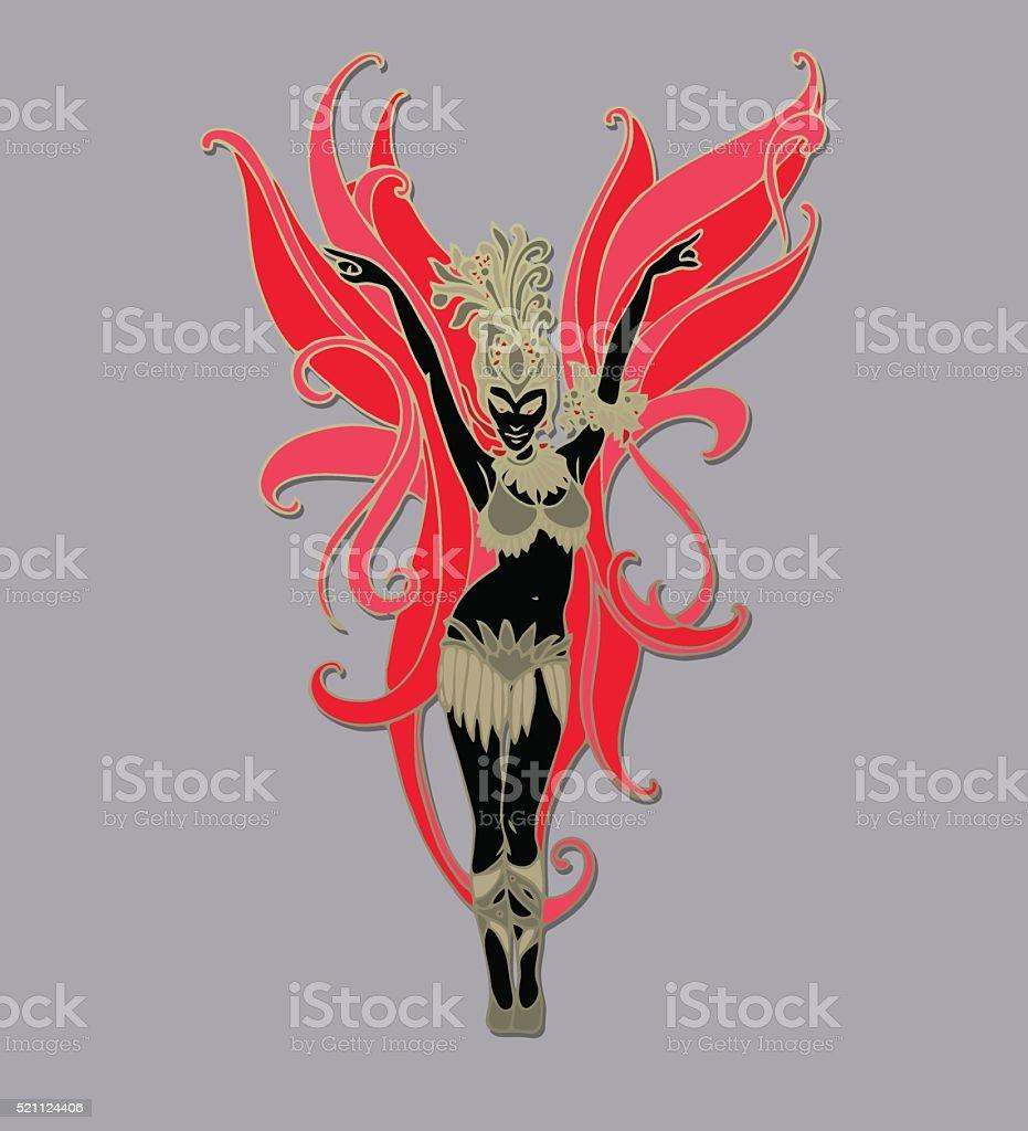 Carnival dancer. Vector vector art illustration