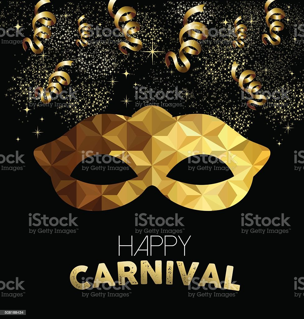 Carnival design with gold mask and party elements vector art illustration