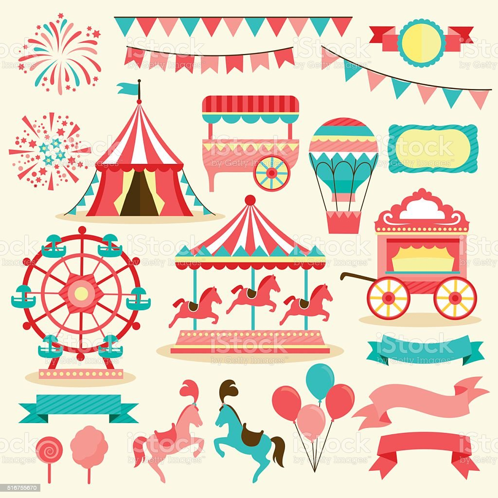 carnival elements vector art illustration