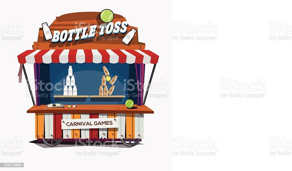 carnival game. Milk Bottle Toss - vector illustration vector art illustration
