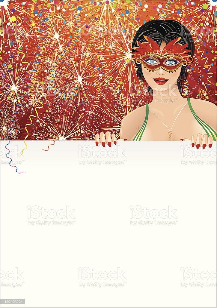 Carnival Girl over Firework Background royalty-free stock vector art