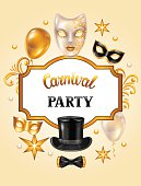 Carnival invitation card with gold masks and decorations. Celebration party