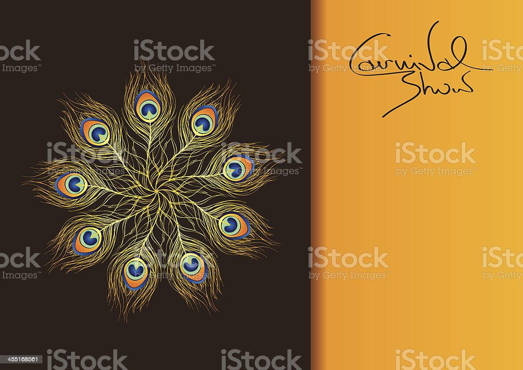 Carnival invitation with peacock feathers royalty-free stock vector art