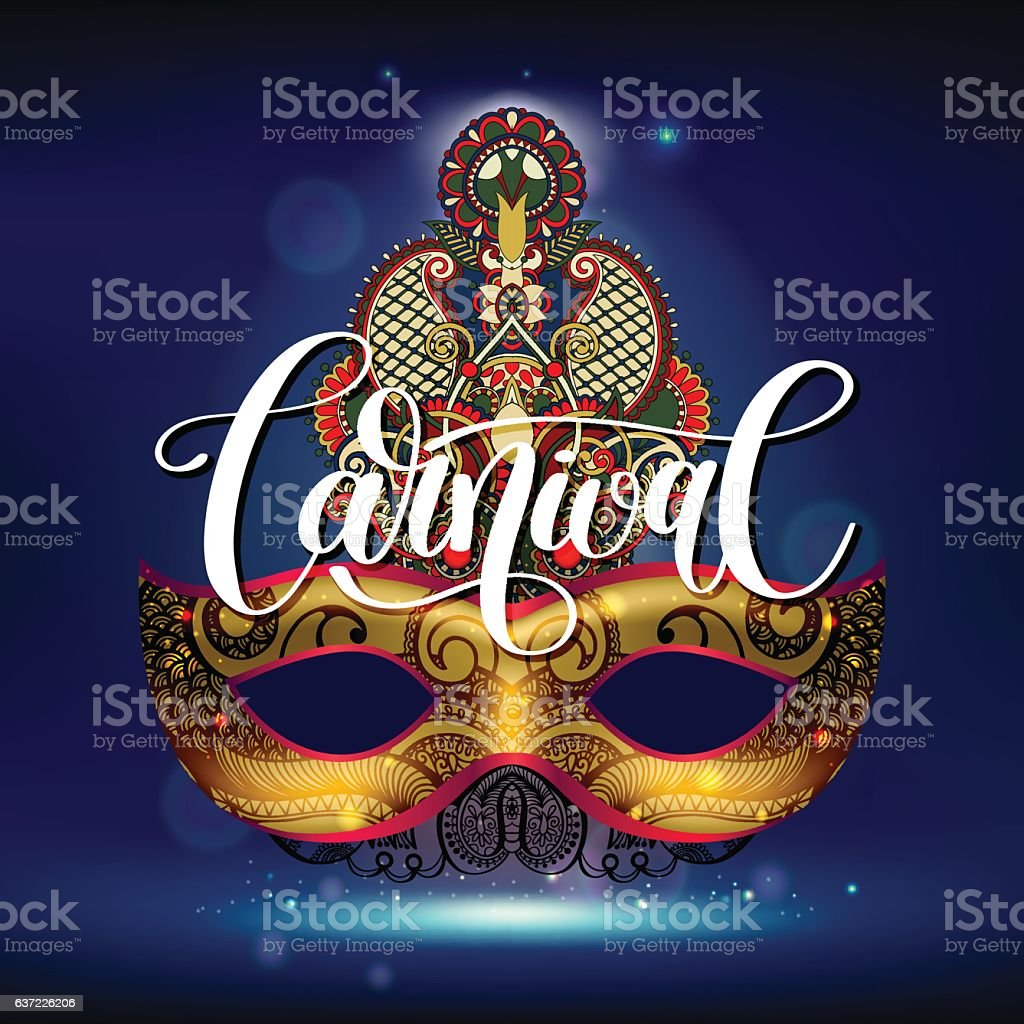 carnival mask with ornamental floral feather and hand lettering vector art illustration