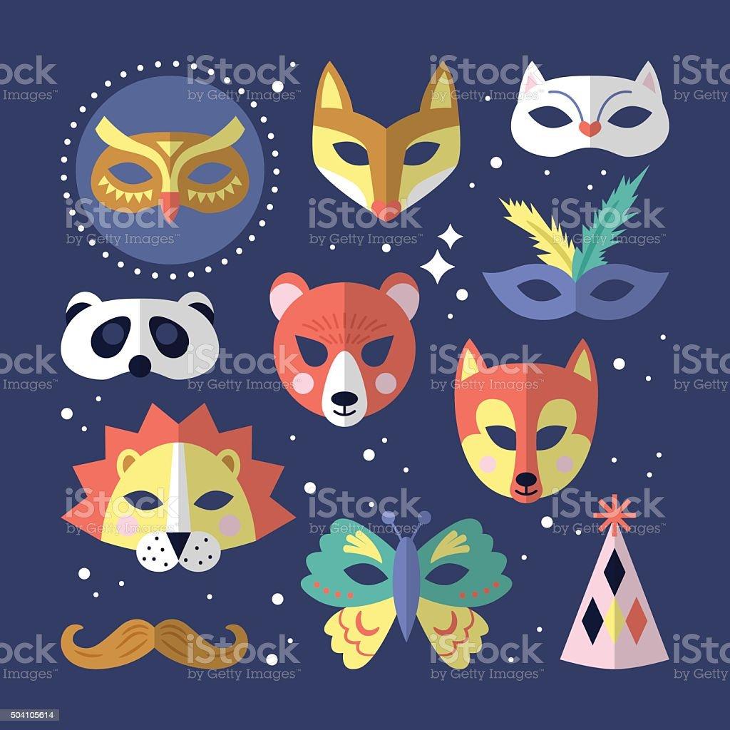 Carnival masks flat stylish design. Vector illustration vector art illustration