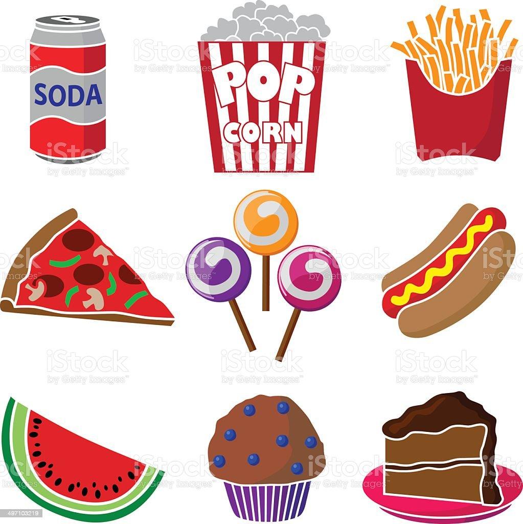 carnival or festival junk food vector art illustration