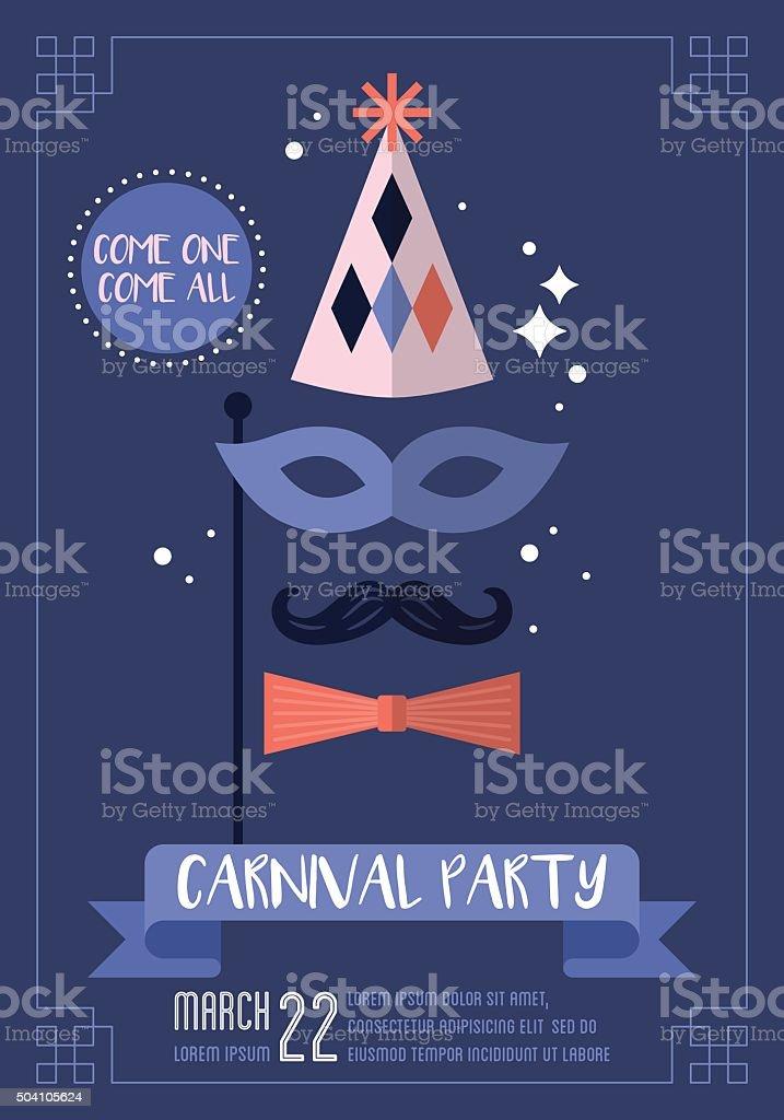 Carnival party poster design. Vector illustration vector art illustration