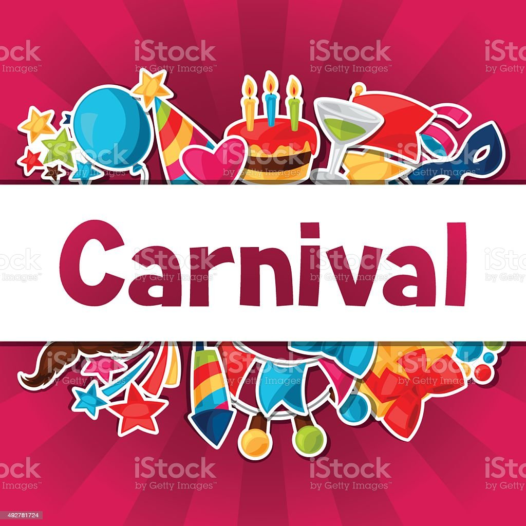 Carnival show and party greeting card with celebration stickers vector art illustration