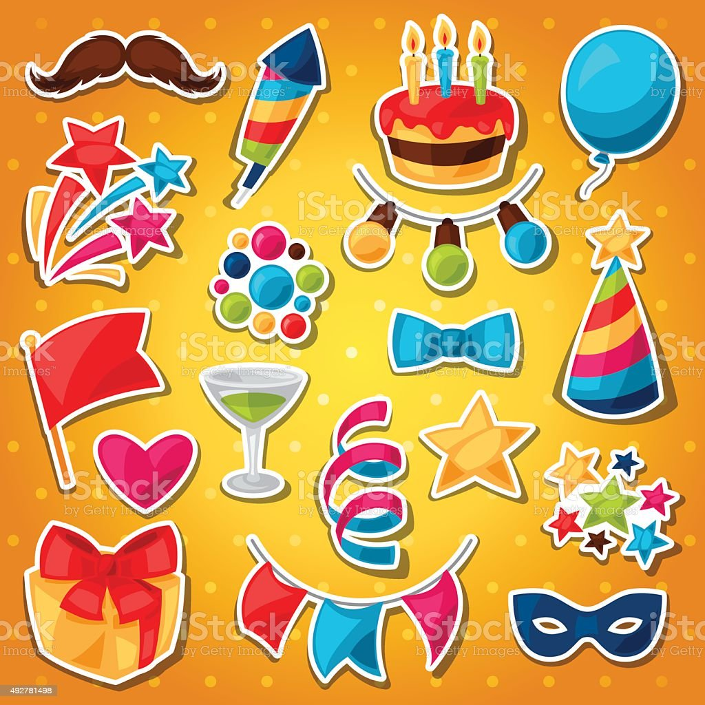 Carnival show and party set of celebration stickers vector art illustration