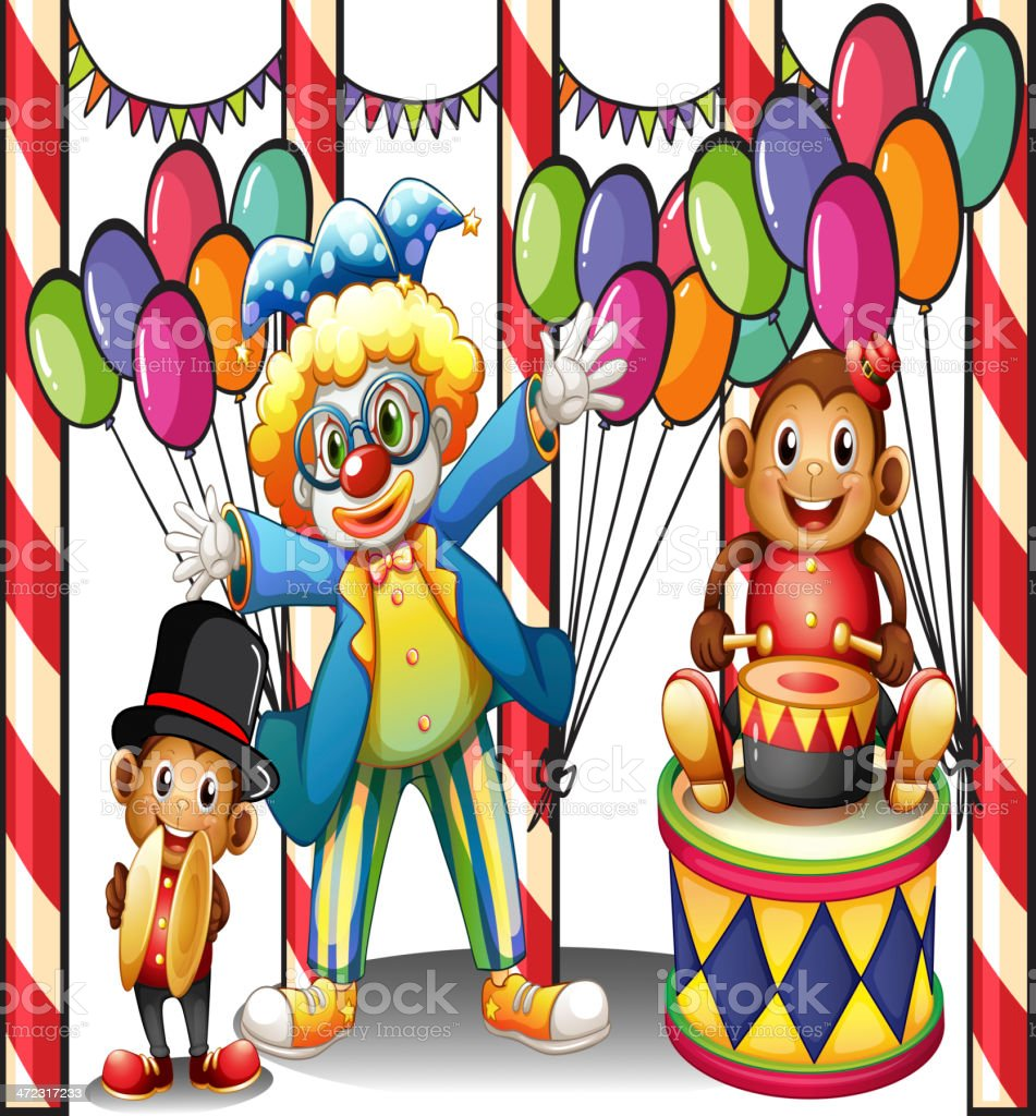 Carnival with a clown and monkeys royalty-free stock vector art