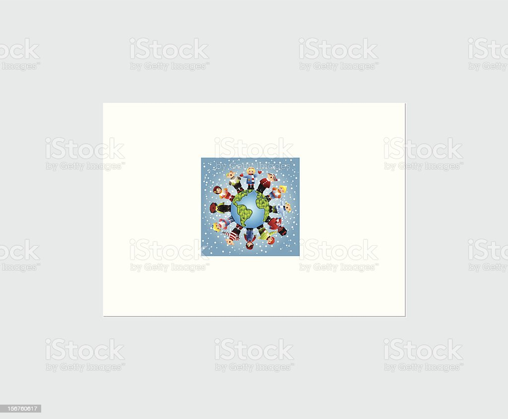 Caroling around the world vector art illustration