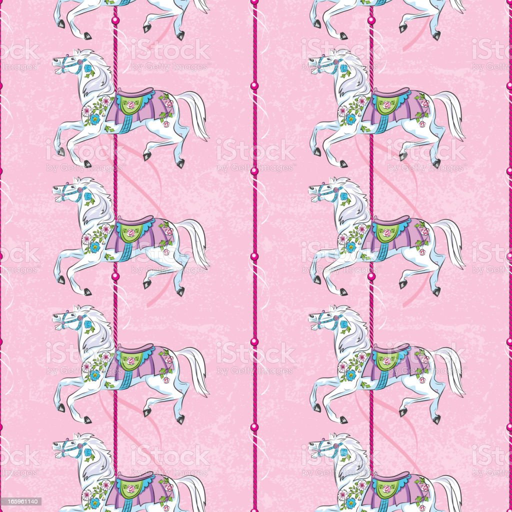 Carousel Horse Pattern On Pink royalty-free stock vector art