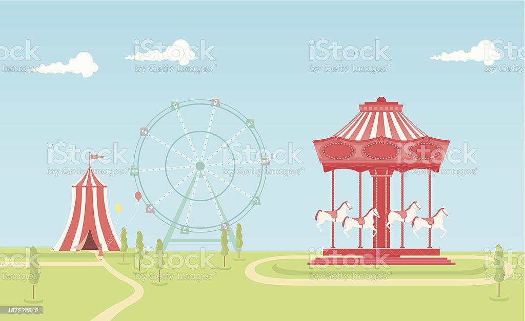 Carousel vector art illustration