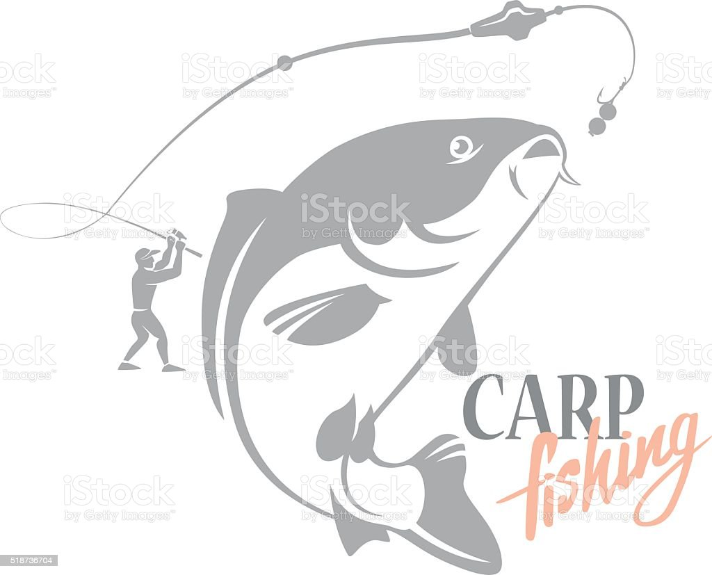 Carp fishing vector art illustration