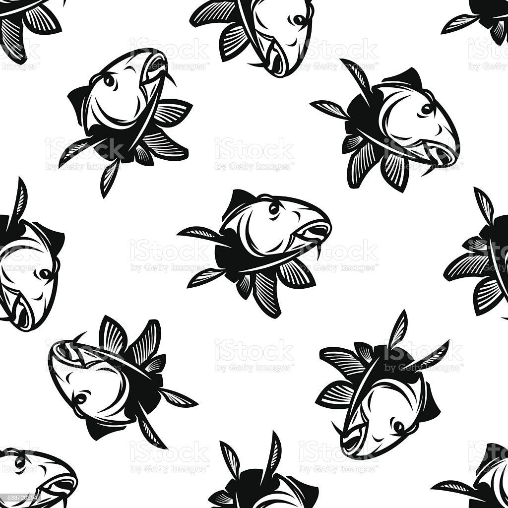carp seamless pattern vector art illustration