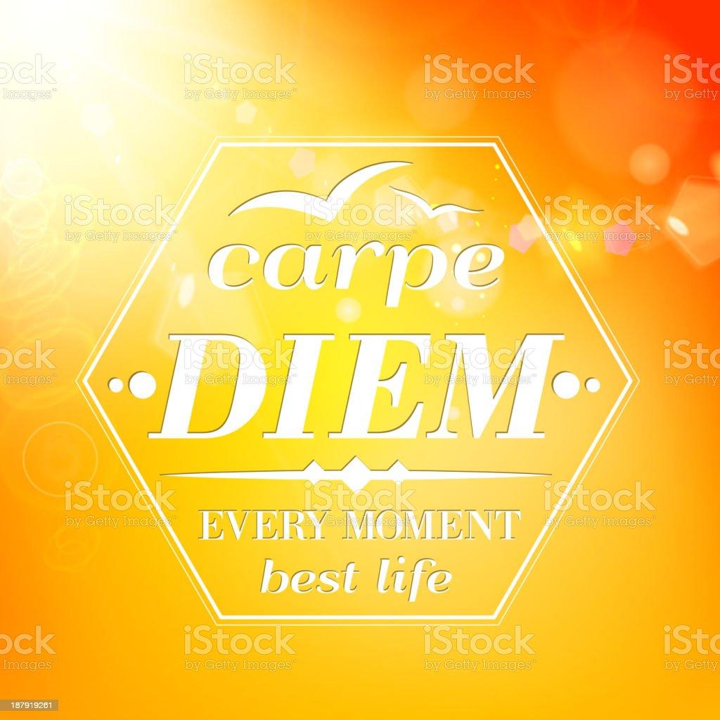 Carpe diem - summer orange typography royalty-free stock vector art