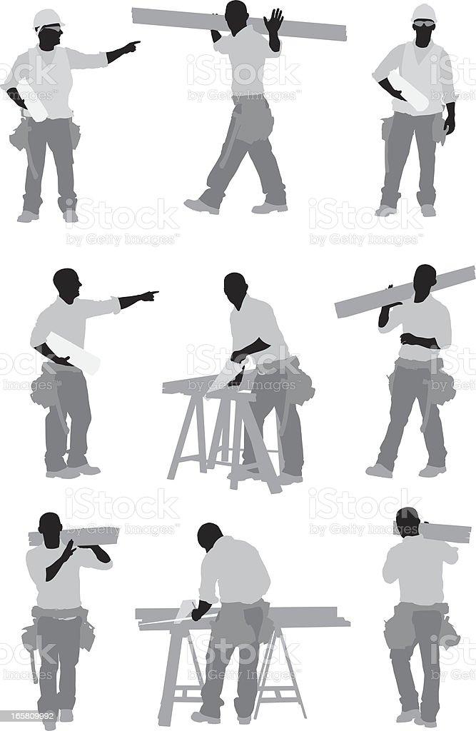 Carpenter at work vector art illustration